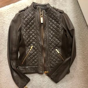 Michael Kors Quilted Brown Leather Jacket